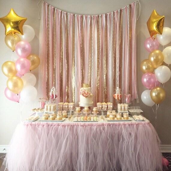 Pink & Gold Garland Backdrop Birthday Baby Shower Wedding