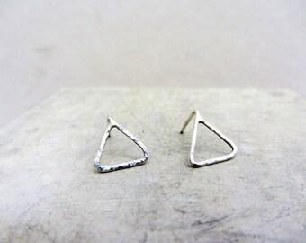 Minimalist triangle post earrings, Geometric triangular sterling silver earrings