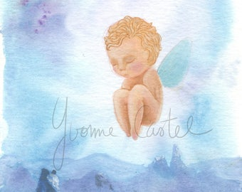 Little angel - original painting in a frame a ask or suspend