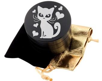 """Cute Cat Laser Etched Design 2.5"""" Large Size Herb Grinder Item # ETCH-G013017-15"""
