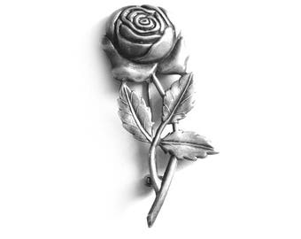 Sterling Silver Rose Brooch Pin