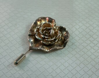 Art From, Lost Was Sterling Rose Stick Pin, Electroformed Rose Pin