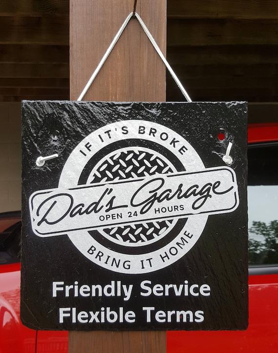 DAD's GARAGE - Dad's Shop - Dad Gift - Slate Sign - Diamond Plate - Garage Sign - Mechanic Sign