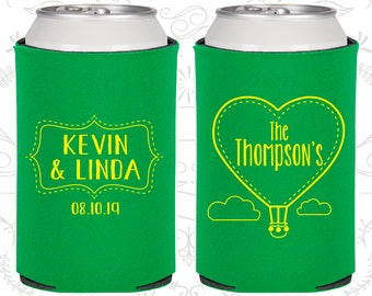 Love is in the Air Wedding, Wedding Gift Ideas, Hot Air Balloon Gift, Love Wedding Favors, Beer Can Coolers (228)