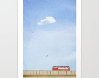 Oversize Art // Large Travel Photography // Large Living Room Art // London Print, London Art, London Double Decker // Red Bus