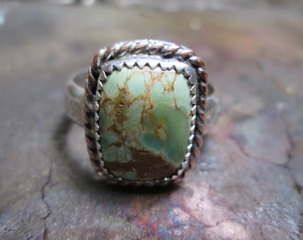 Ring, size 12 1/2... sterling silver... Variscite... signed
