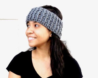Crochet Headband, Ear Warmer, Gray, Women,Teen, Ready To Ship,,