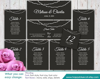 DiY Printable Wedding Seating Chart Template - Instant Download - EDITABLE TEXT - String lights  - Microsoft® Word Format HBC003