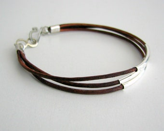 Thin Brown Leather Bracelet with Silver Tubes
