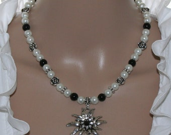 Dirndl necklace white and black with edelweiss pendant