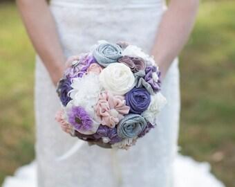 Lavender bouquet, purple wedding bouquet,  bridal bouquet, fabric flowers bridal bouquet