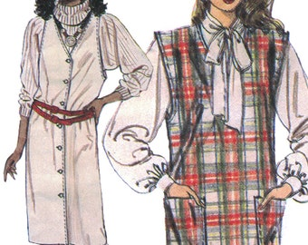 Sleeveless Vest Dress! Vintage ©1984 McCall's Sewing Pattern 9213, Misses' Jumper and Tie Belt, Size 12, Uncut with Factory Folds