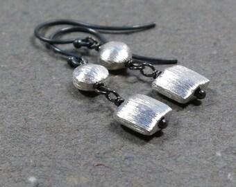 Sterling Silver Earrings Brushed Silver Bead Dangle Earrings