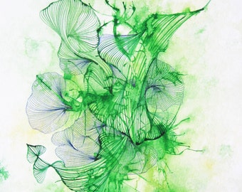 Contemporary Abstract Art - Green, nature painting, ink, green wall art, interior design, home decor