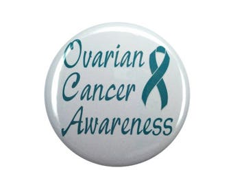 Ovarian cancer awareness teal ribbon ovarian cancer support awareness ribbon 2 1/4 inch button