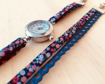 Blue flowered shows Navy and hot pink