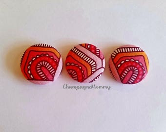 Red and Orange Fabric Magnets - Set of 3 - 1 1/8 inch size Button Magnets - Fabric Magnets - Home Office - Office Decor