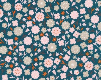 ORGANIC Cotton Fabric Primrose on Spruce from Cloud9 Fabrics Stay Gold Collection by Aneela Hoey