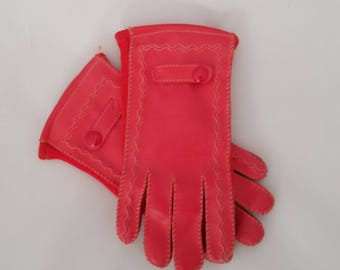 Vintage Children's Red Vinyl Gloves with Snap - Ages 5-8 years - Made in Japan