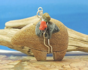 Picture Stone Zuni Bear with bundle Pendant New Zuni Bears Gemstone