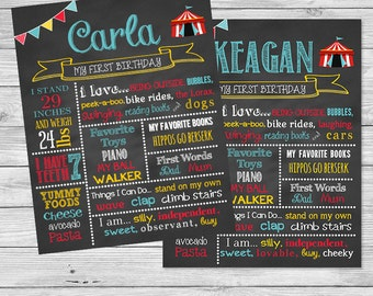 Carnival First Birthday Chalkboard Sign - Circus Birthday Chalkboard Poster