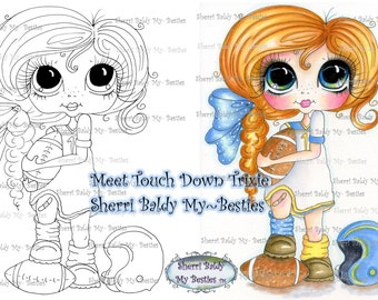 INSTANT DOWNLOAD Digital Digi Stamps Big Eye Big Head Dolls Touch Down Trixie img991 Sportie Besties By Sherri Baldy