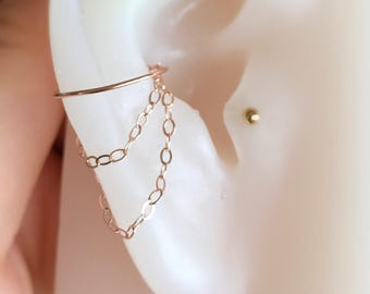 14k gold/rose gold filled-925 sterling silver double chains fake conch piercing ring hoop jewelry with 14k gold/rose gold filled chains