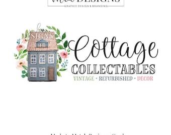 House Logo, Cottage Logo, Wreath Logo, Premade Logo, Custom Logo Design, Boutique Logo, Round Logo, Watercolor Logo