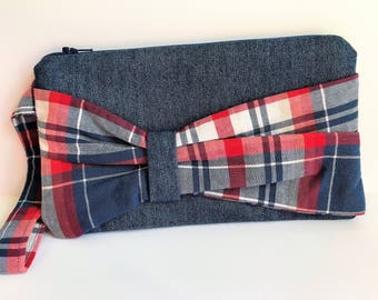 Upcycled Denim & Plaid Bow Clutch, Cosmetics, Toiletries, Wristlet, Wallet, Purse, Handbag,