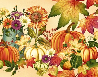 AUTUMN HARVEST PanelL 2015P-44**Henry Glass Fabrics-Lovely Bountiful panel***Awesome Colours---