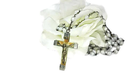 Vintage French Lourdes rosary, 5 Decade French rosary, catholic rosary, praying beads, spiritual jewelry