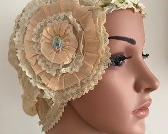 Exquisite Vintage 1920s Lace Cloche Hat  Art Deco Hand Made Wedding Cap