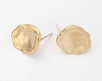 Leaf Post Earring ,earrings jewelry making craft supplies Matte Gold- Plated - 2 Pieces [E0033-MG]