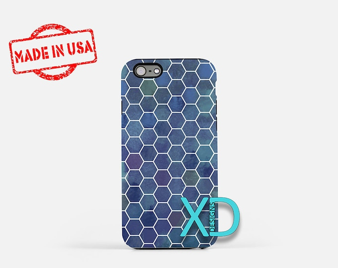 Honeycomb iPhone Case, Blue iPhone Case, Honeycomb iPhone 8 Case, iPhone 6s Case, iPhone 7 Case, Phone Case, iPhone X Case, SE Case