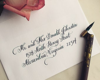 Calligraphy wedding envelopes