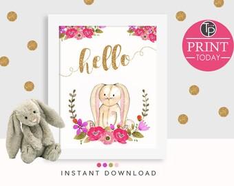 BUNNY WALL ART, Instant Download Printable Art, Bunny Print, Rabbit Print, Bunny Watercolor, Bunny Printable, Nursery Print Girl, Rabbit