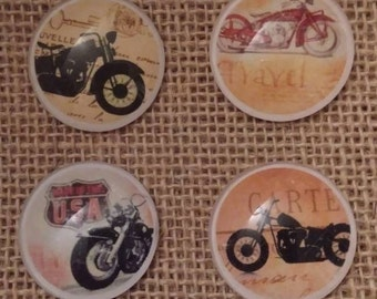 Motorcycle Magnets - Fathers Day Gift - Birthday Gift - Motorcycle Decor - Refrigerator Magnets