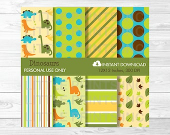 Cute Dinosaur Digital Paper / Dinosaur Patterns / Dinosaur Backgrounds / Dinosaur Baby Shower / Bab Boy / PERSONAL USE Instant Download A317