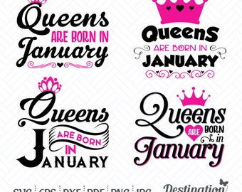 Queens are Born in January SVG Files, Cutting Files, Silhouette Files, Cricut Files, Vinyl Decal, Layered Vector, dxf eps png jpg pdf, D/028