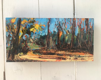 6x12 inch (1-5/8 inch sides) Original Acrylic River Valley Off-leash Trail Landscape on Birch - 'finding my voice'
