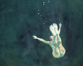 Art print - 'My Feet!' - From a painting by Nancy Farmer. Open water swimming, wild swimming. Underwater swimmer.