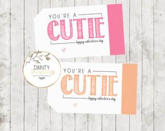 Valentine's Day - Oranges - Cutie Tags - ORANGE