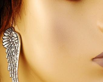 Dark Angel Ear Wings - Antique Silver Winged Earrings - The Flight Series Wing Earring - Lead and Nickel Free - With Hypoallergenic Posts