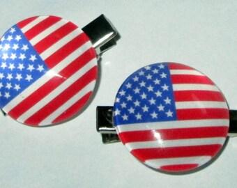 Hair Clips American Flag hair clips set of 2 Red White and Blue American Flag Hair clips Patriotic Hair Accessories