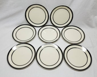 Venture Lenox 8 Salad Plates Black & Platinum Bands Cream Body Vintage Porcelain