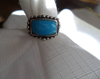 Vintage Turquoise Sterling Silver Ring Size 6.5