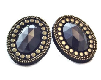 Black Hematite Clip On Earrings Vintage Black and Gold Clip On Earrings Gift for Her