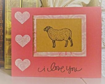 I Love You Greeting Card, Home made Greeting Card- Sheep Greeting Card