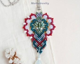 Bohemian necklace, macrame necklace, micro-macrame jewelry, tassel, layer, pendant, beaded, tassel, boho chic, beadwork, teal crimson white