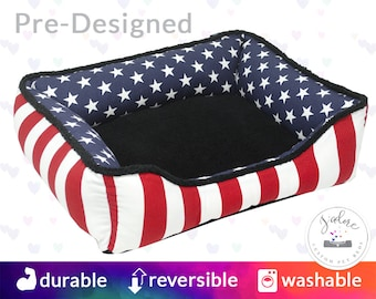 Stars & Stripe Patriotic Dog Bed or Cat Bed - America, Red, White, Blue, Patriotic | Washable, Reversible and High Quality - Ships Fast!